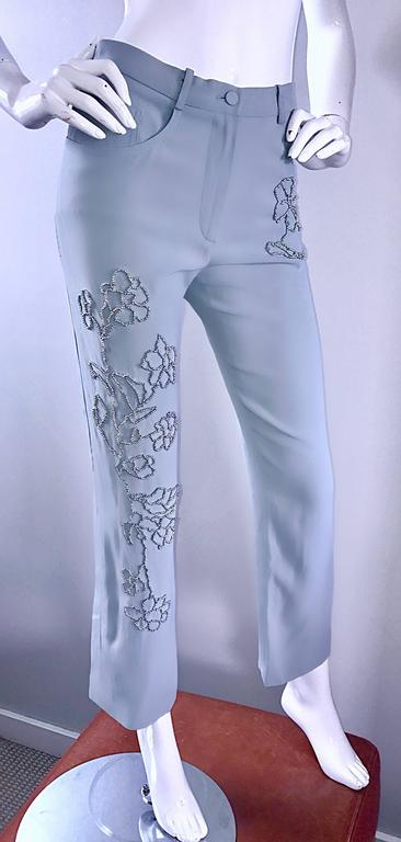 Vintage Sonia Rykiel 1990s Pale Blue Silver Beaded High Waisted Slim Pants Sz 38 For Sale 1