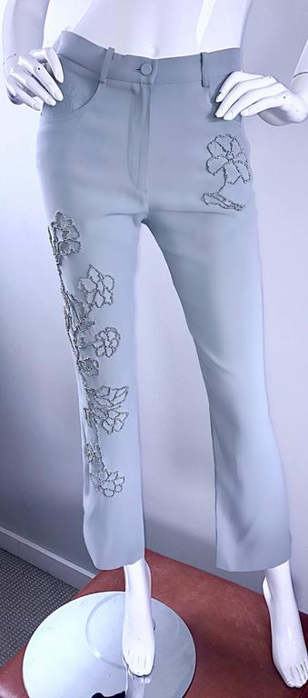 Vintage Sonia Rykiel 1990s Pale Blue Silver Beaded High Waisted Slim Pants Sz 38 For Sale 2