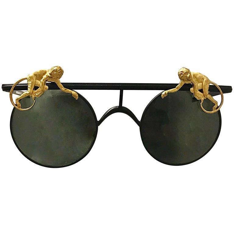 42be2e2417b4 Rare Vintage Mercura Unisex Flying Monkeys Black and Gold 1990s Round Sunglasses  For Sale