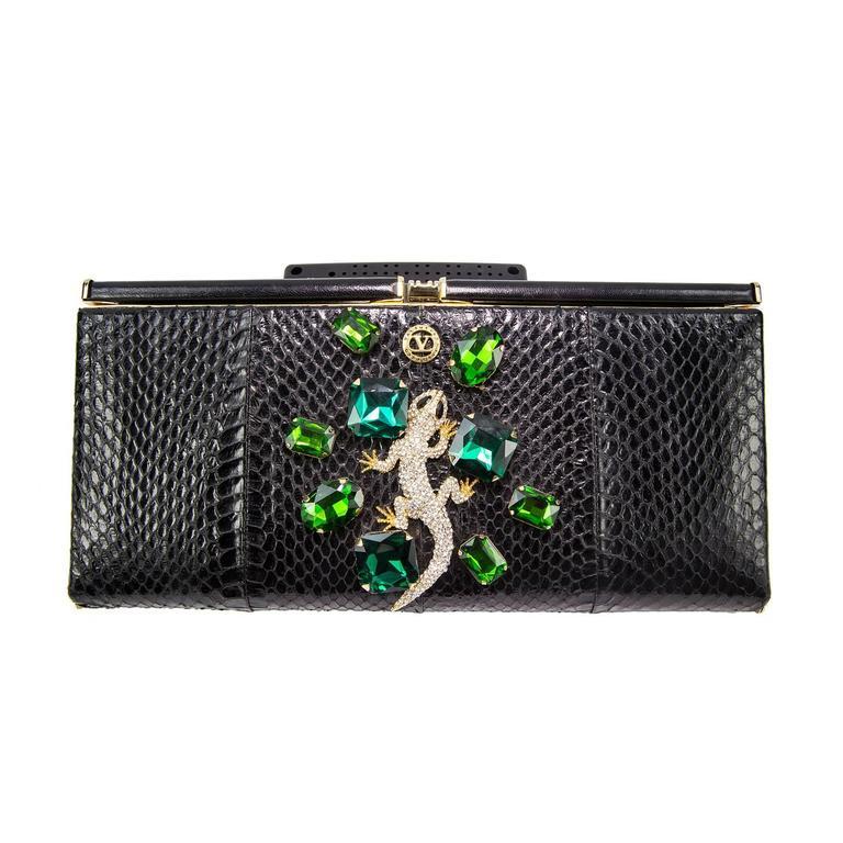 Extraordinary Vanentino Garavani Haute Couture Lizard Jewel Clutch Bag 1