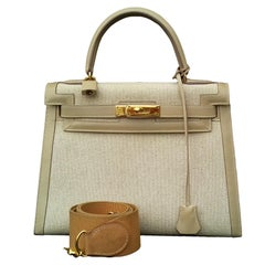 Hermès Kelly Bag Sellier Bi Matiere Toile Canvas Beige Leather Ghw 28 cm Strap