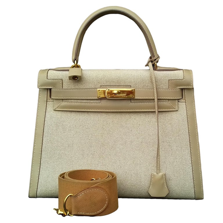 Hermès Kelly Bag Sellier Bi Matiere Toile Canvas Beige Leather Ghw 28 cm  Strap For Sale b982f59bcdd55