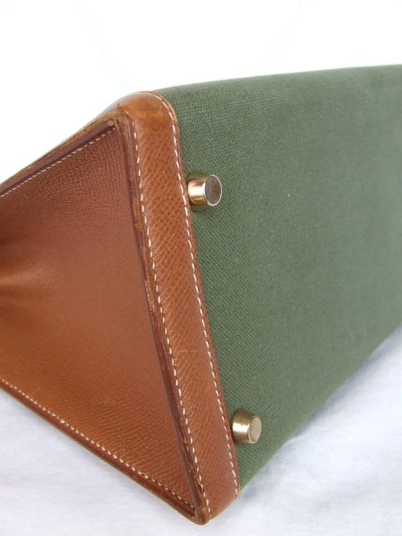 Hermes Kelly 32 Sellier Bag Bi Matiere Green Canvas Cognac Leather GHW Rare  5