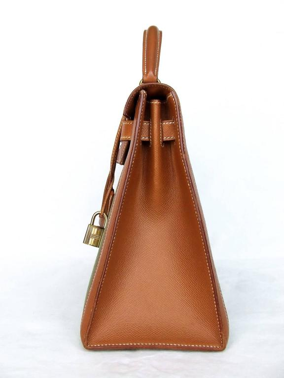Hermes Kelly 32 Sellier Bag Bi Matiere Green Canvas Cognac Leather GHW Rare  2