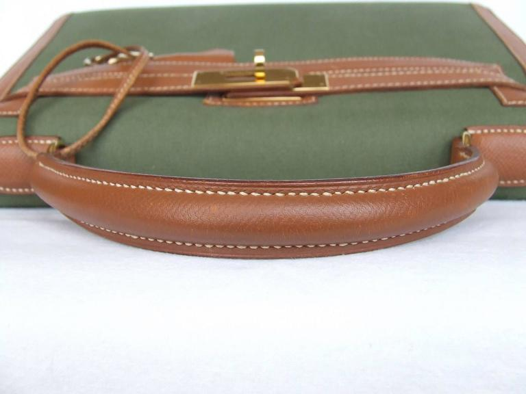 Hermes Kelly 32 Sellier Bag Bi Matiere Green Canvas Cognac Leather GHW Rare  3