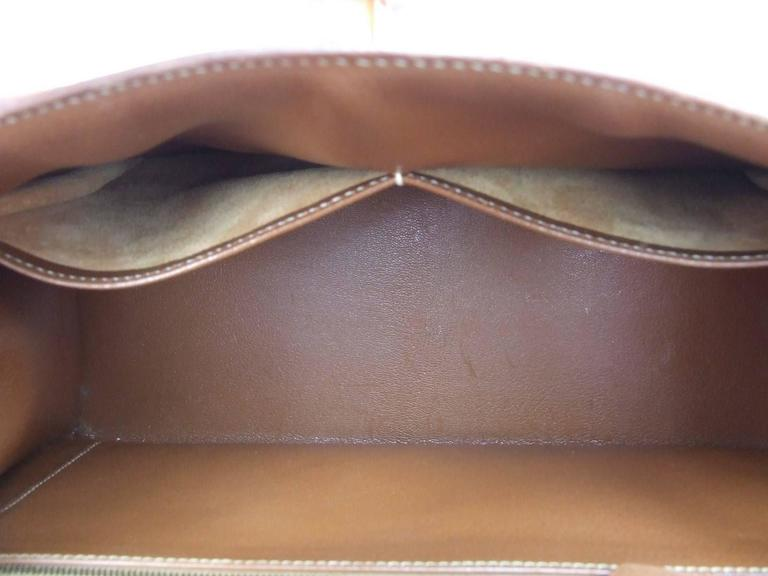 Hermes Kelly 32 Sellier Bag Bi Matiere Green Canvas Cognac Leather GHW Rare  9