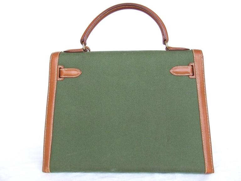 Hermes Kelly 32 Sellier Bag Bi Matiere Green Canvas Cognac Leather GHW Rare  7