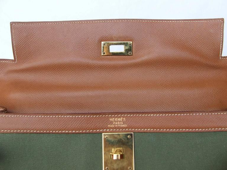 Hermes Kelly 32 Sellier Bag Bi Matiere Green Canvas Cognac Leather GHW Rare  8