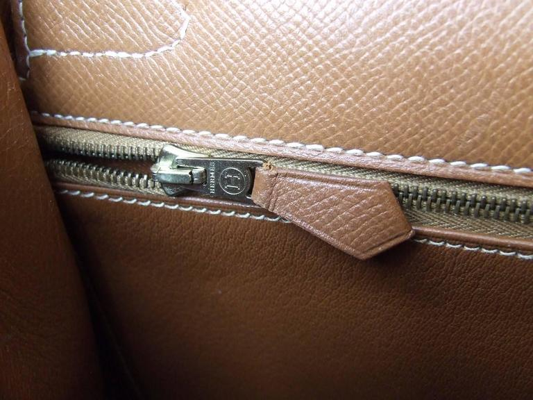 Hermes Kelly 32 Sellier Bag Bi Matiere Green Canvas Cognac Leather GHW Rare  10