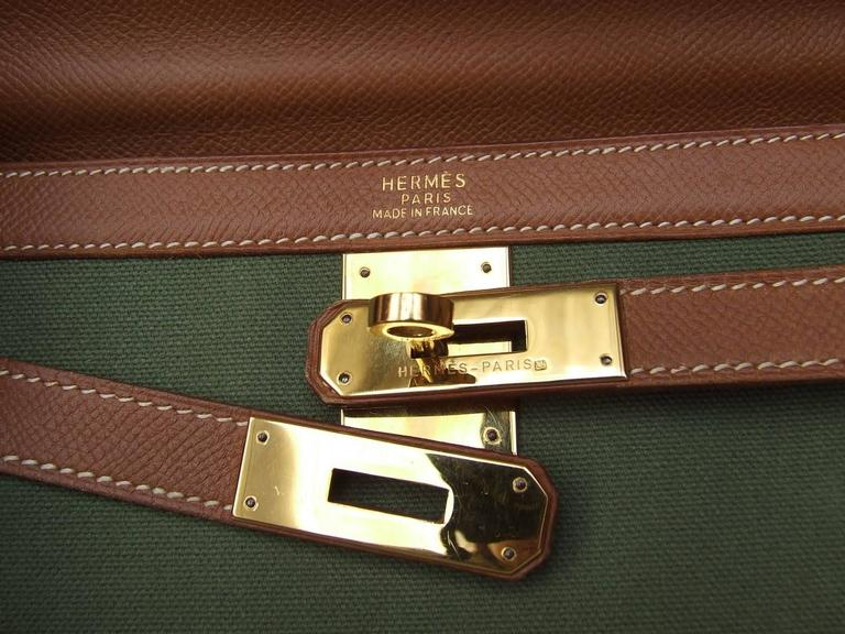 Hermes Kelly 32 Sellier Bag Bi Matiere Green Canvas Cognac Leather GHW Rare  4