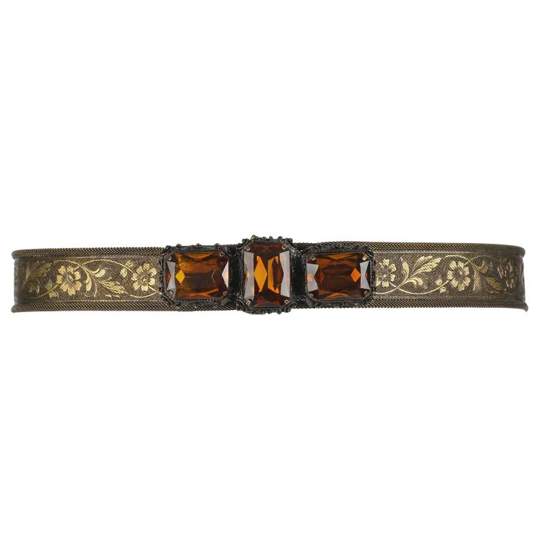 VICTORIAN REVIVAL c.1930's Bronze Floral Mesh Amber Quartz Jeweled Belt