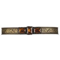 VICTORIAN REVIVAL c.1930's Bronze Floral Metal Mesh Amber Quartz Jeweled Belt