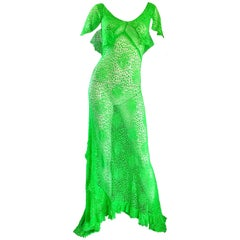 1930s Bright Neon Green Hand Crochet Vintage Bias Cut Gown