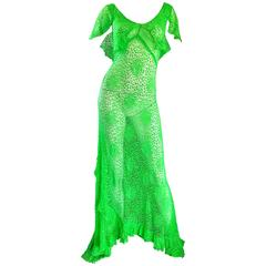 Incredible 1930s Bright Neon Green Hand Crochet Vintage 30s Bias Cut Gown
