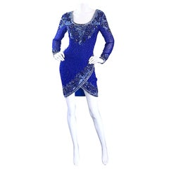 Vintage Oleg Cassini Size 6 1990s Royal Blue Silk Sequin Beaded 90s Mini Dress