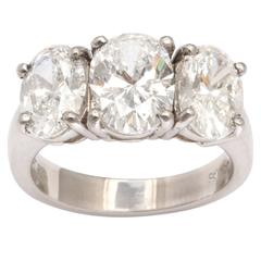 Classic Vintage Three Stone Platinum Diamond Ring