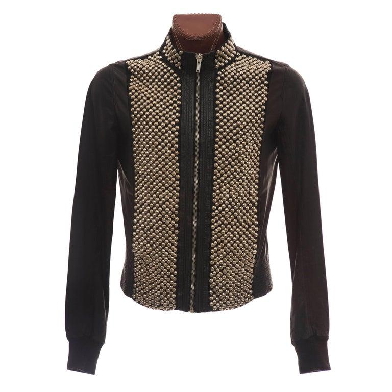 Rick Owens Men's Black Leather Silver Studded Jacket, Spring 2012 For Sale