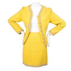 Chanel Yellow Tweed Beaded Embellished Skirt Suit
