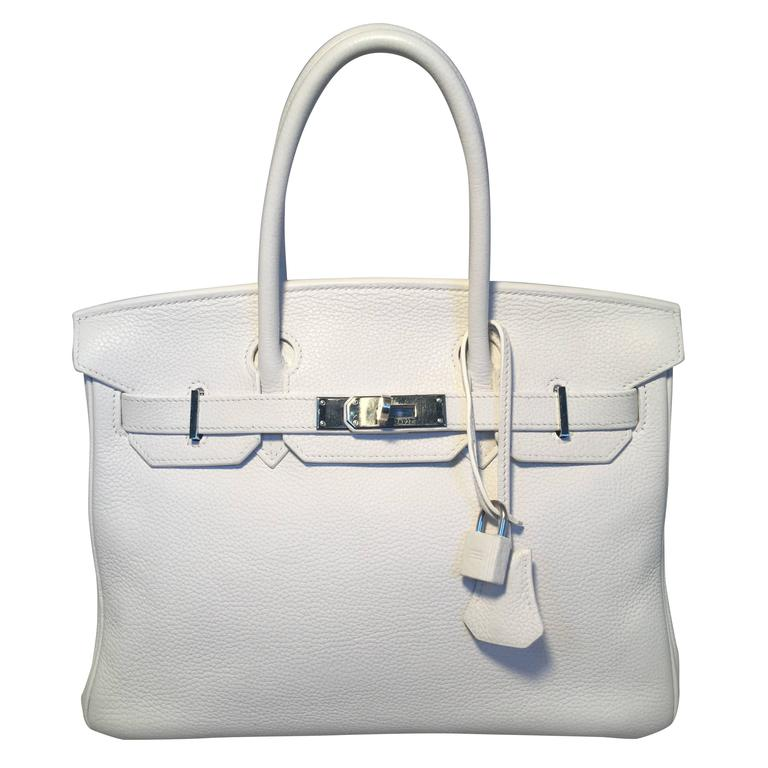Hermes White Togo Leather 30cm Birkin Bag