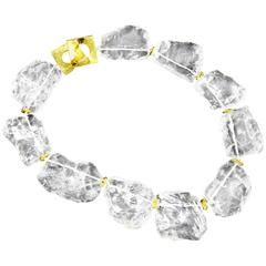Fabulous Chunky Natural Rock Crystal Gilt Sterling Silver Necklace