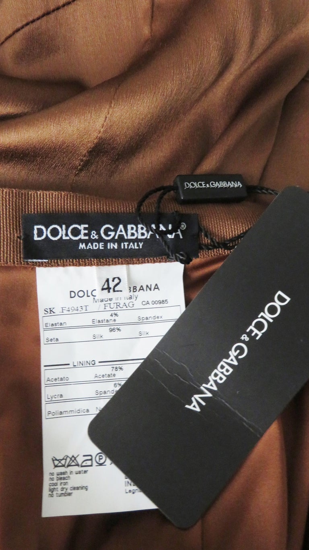 Dolce & Gabbana New Bronze Silk Skirt For Sale 3