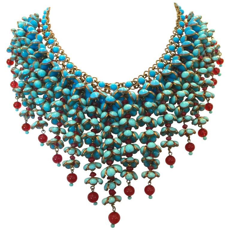 Coco Chanel Gripoix Poured Glass Flower Faux Turquoise and Ruby Necklace 1