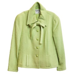 Chanel Chartreuse Boucle Button-Up Jacket w/ Neck Tie