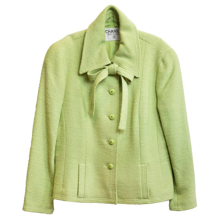 Chanel Chartreuse Boucle Button-Up Jacket w/ Neck Tie 1