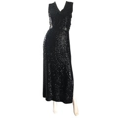 1970s Lillie Rubin Black Silk Sequin Belted Vintage 70s Sleeveless Evening Dress