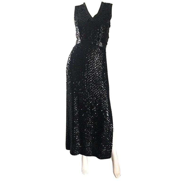 1970s Lillie Rubin Black Silk Sequin Belted Vintage 70s Sleeveless Evening Dress For Sale
