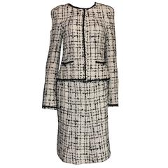 Timeless Chanel Signature Lesage Fantasy Tweed Skirt Suit with Sequins