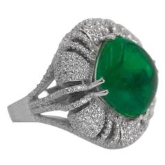 20 Carat Faux Colombian Cabochon Emerald Cushion of Pave Faux Diamonds Ring