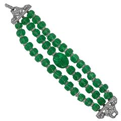 Art Deco French Faux Carved Emerald Bead Three Strand Diamond Clasp Bracelet