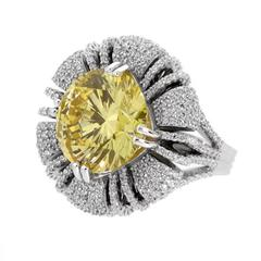 For Day And Night 15 Carat Round Fancy Canary Cubic Zirconia Faux Diamond Ring