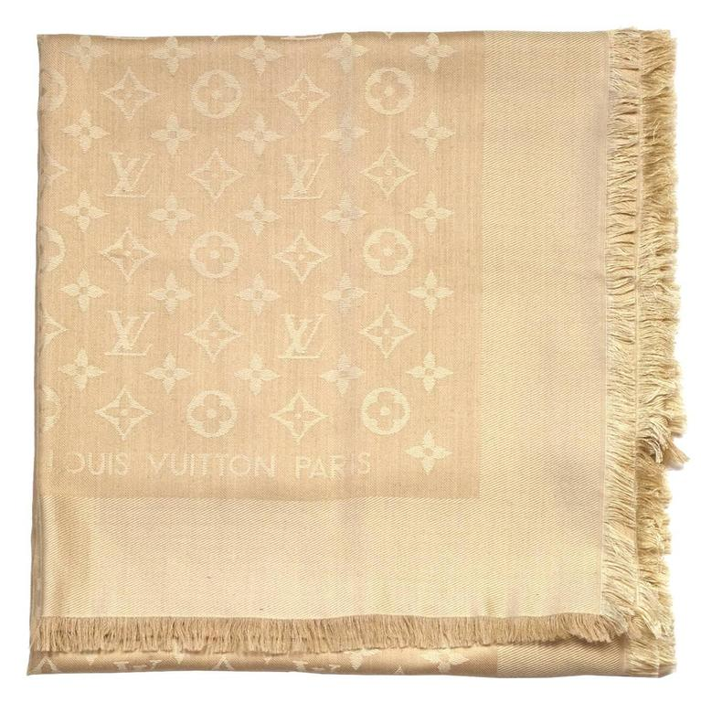 1f540c0184cb Louis Vuitton Nude Monogram Wool and Silk Large Scarf Shawl For Sale ...