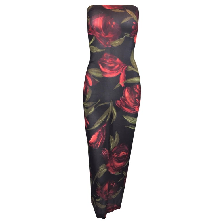 C. 1996 Dolce & Gabbana Rose Floral Sheer Silk Tube Dress
