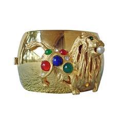 Vintage Balmain Large Gold Jeweled Cuff Bracelet