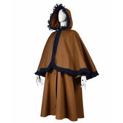 Yves Saint Laurent Brown Wool Cape Coat