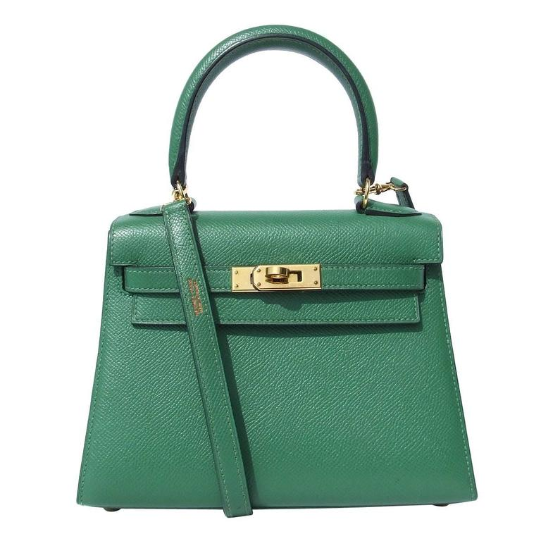 50eeae42d3 Rare Hermes Mini Kelly 20 cm Sellier Bag Green Courchevel Leather GHW For  Sale