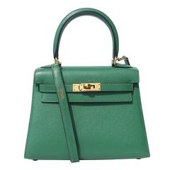 Rare Hermes Mini Kelly 20 cm Sellier Bag Green Courchevel Leather GHW