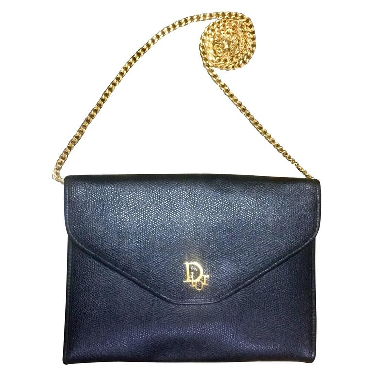 Vintage Dior Black Leather Chain Clutch Bag With Golden Logo Motif For