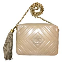 Vintage Chanel beige lamb camera bag style shoulder bag, Chevron, diamond stitch
