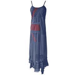 Comme des Garcons Navy Polka Dots Union Jack Dress AD 2005