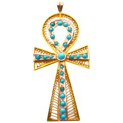 1920s 18K gold turquoise Ankh Brooch /Pendant