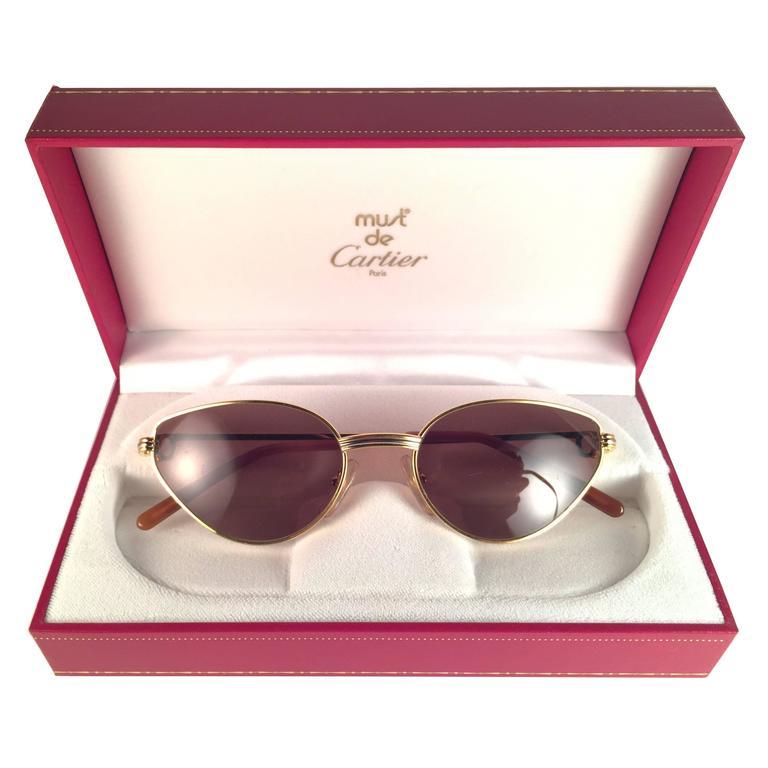 dc721e7ed6 New Cartier Rivoli Vendome 54mm Cat Eye Sunglasses 18k Heavy Plated France  at 1stdibs