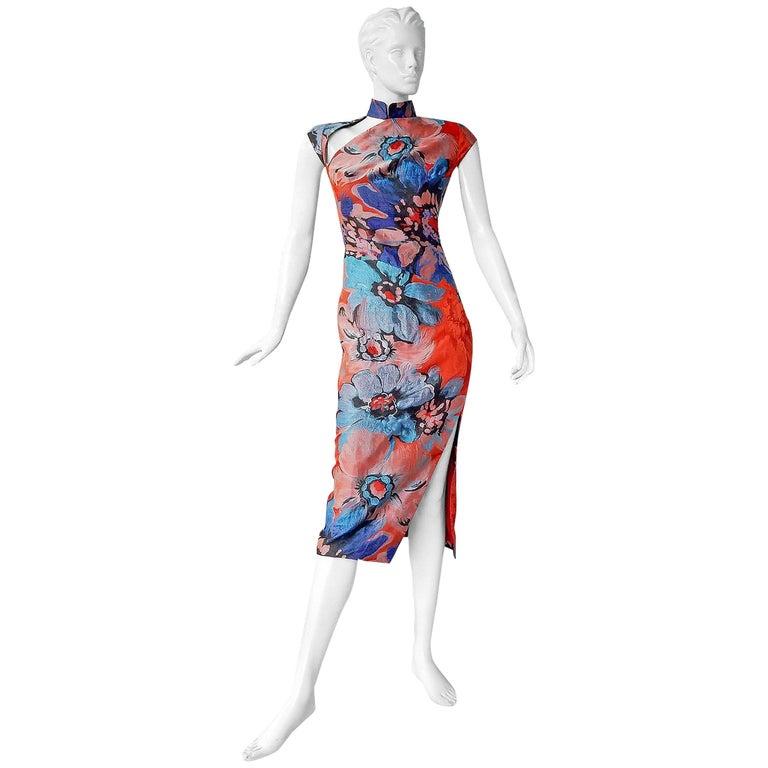 Antonio Berardi Silk Jacquard Floral Cheonsang Stunning Sexy Dress