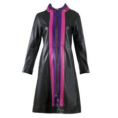 1970s Pierre Cardin Black Space Age Mod Fitted Leather Coat w/Purple & Pink Trim
