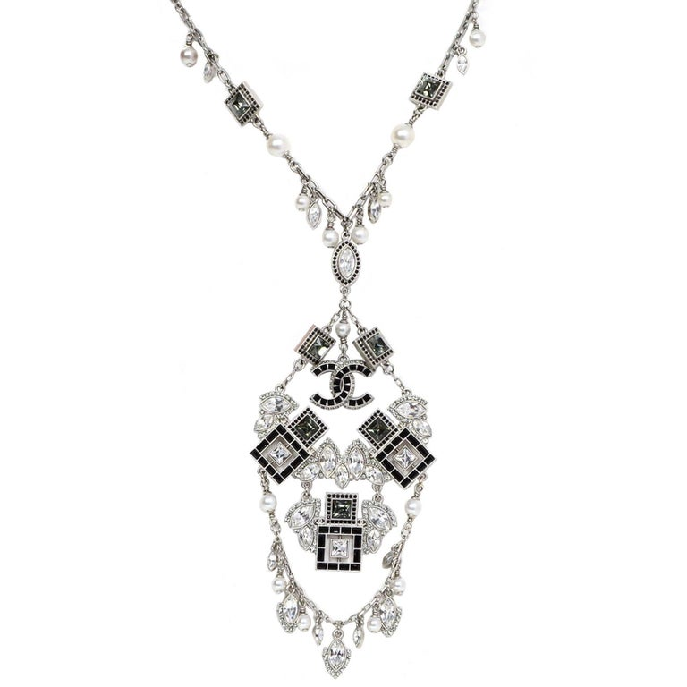 Chanel '15 A/W Runway Crystal & Faux Pearl Charm Necklace For Sale