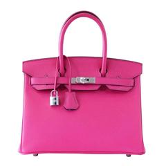 Hermes Birkin 30 Bag Horseshoe Rare Pink Rose Shocking / Blue Paon Palladiu