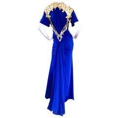 Incredible Vintage Royal Blue Jersey + Gold Leather Beaded Grecian Evening Gown
